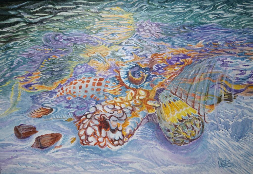 """""""Exotische Muscheln"""" (Acryl 100 x 75 cm)"""
