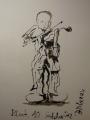 Tuschezeichnung: Letztes Geigenspiel in Block 10, Auschwitz-Birkenau