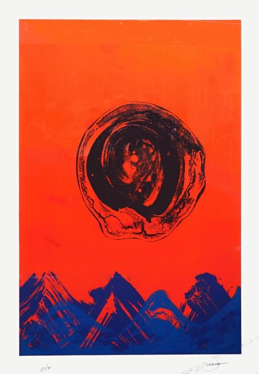 Otto Piene - Naturstein blau - 1994 - Mischtechnik auf Papier (Radierung)