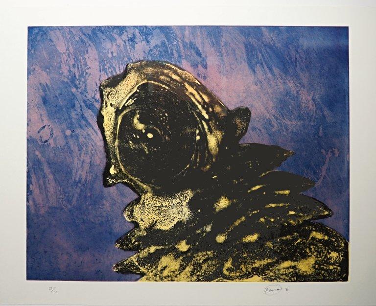 Otto Piene - Zyklop gelb - 1994 - Mischtechnik auf Papier (Radierung)