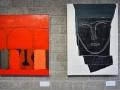 Martin Scholz: Bogen auf Leinwand + Kopf im Spiegel