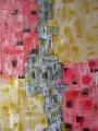 "Gertrud Hoppe: ""Quadratisches"" - Acryl/Strukturpaste auf Leinwand 50x70 cm"