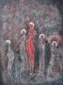 "Gertrud Hoppe: ""Familie"" - Acryl/Strukturpaste auf Leinwand 50x70 cm"